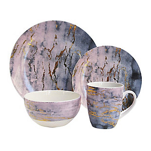 AMERICAN ATELIER Marble Pu/Gd 16-Piece Dinnerware Set, Purple, large