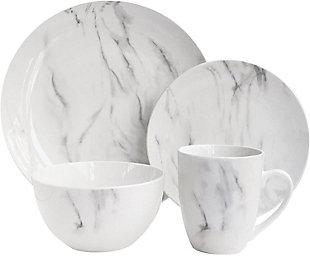 AMERICAN ATELIER Marble White/Gray 16-Piece Dinnerware Set, , large