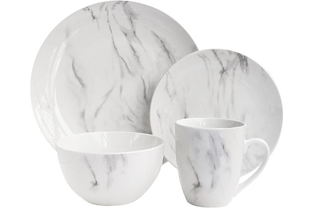 AMERICAN ATELIER Marble White/Blue 16-Piece Dinner Set, White, large