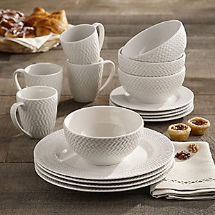 ELLE Bridgette Porcelain 16-Piece Dinner Set, , rollover