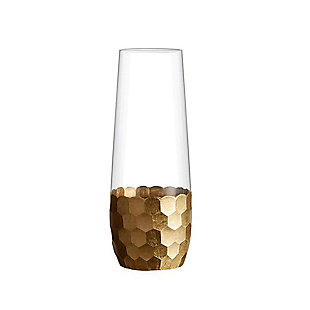 FITZ&FLOYD Daphne Copper Flutes Stemless (Set of 4), Clear, rollover