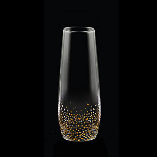 FITZ&FLOYD Confetti Black/Gold Stemless Flutes (Set of 4), , rollover