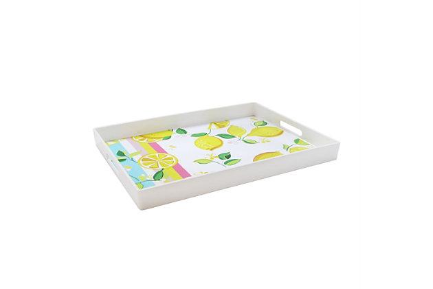 Lemons and Stripes Decorative Tray, , large