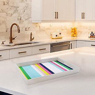 Multi Color Stripes Decorative Tray, , rollover