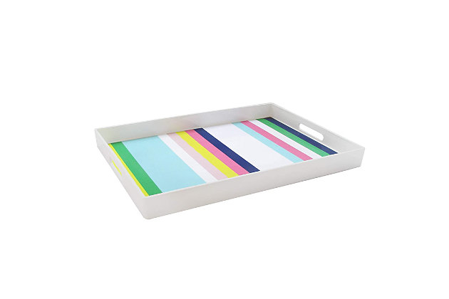 Multi Color Stripes Decorative Tray, , large
