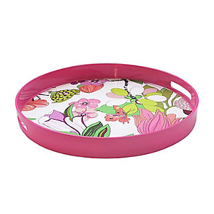 Pink Floral Decorative Circle Tray, , large