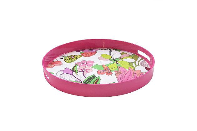 Pink Floral Decorative Circle Tray, , large