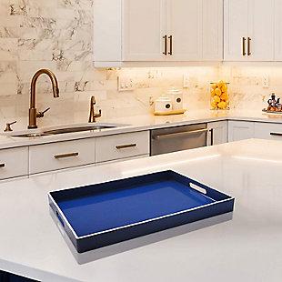 Blue with White Rim Rectangle Decorative Tray, , rollover