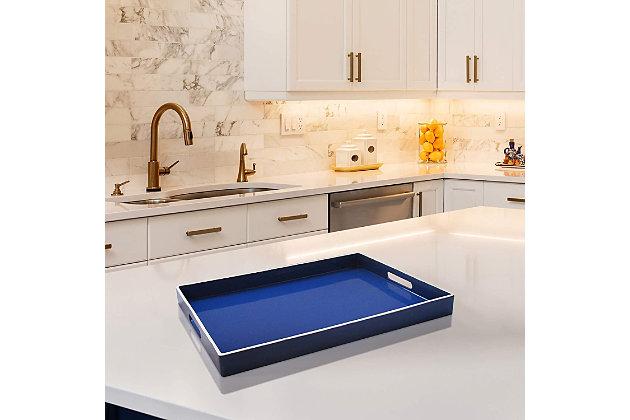 Blue with White Rim Rectangle Decorative Tray, , large
