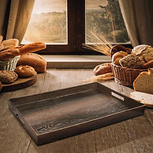 Walnut Wood Decorative Rectangle Tray with Handles, , rollover