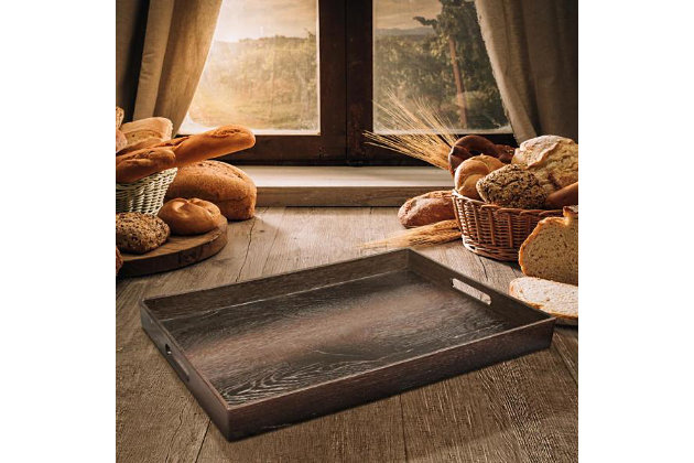 Walnut Wood Decorative Rectangle Tray with Handles, , large