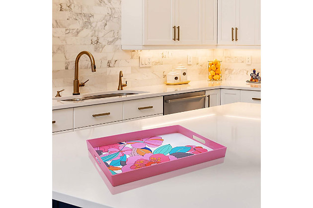 Pink Floral Decorative Rectangle Tray, , large