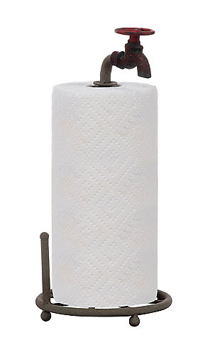 Creative Co-Op Rustic Metal Faucet Paper Towel Holder, , large
