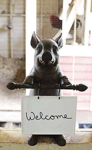 Creative Co-Op Resin Pig Holding Message Board, , rollover