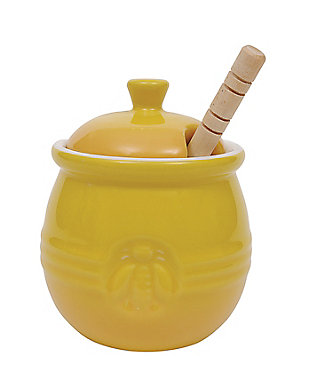 Creative Co-Op Yellow Stoneware Honey Pot with Lid & Wood Honey Dipper (Set of 2 Pieces), , large