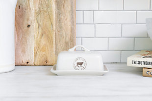 Creative Co-Op Stoneware Butter Dish with Cow Decal, , rollover
