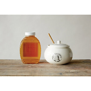 Creative Co-Op White Stoneware Honey Pot with Lid & Wood Honey Dipper (Set of 2 Pieces), , rollover