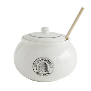 Creative Co-Op White Stoneware Honey Pot with Lid & Wood Honey Dipper (Set of 2 Pieces), , large