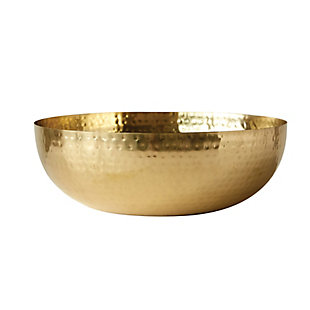 Creative Co-Op Round Hammered Metal Bowl with Gold Finish, , large
