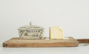 Creative Co-Op Country Style White & Black Stoneware Butter Dish with Lid, , rollover