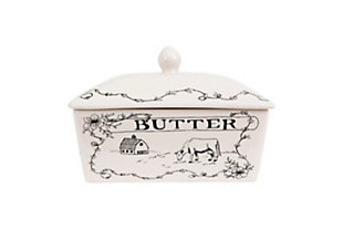 Creative Co-Op Country Style White & Black Stoneware Butter Dish with Lid, , large