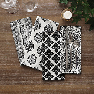 Elrene Home Fashions Everyday Casual Prints Assorted Cotton Fabric Napkins - Set of 24, Black, rollover