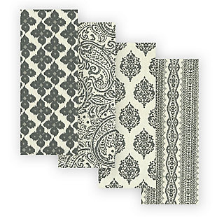 Elrene Home Fashions Everyday Casual Prints Assorted Cotton Fabric Kitchen Towels - Set of 4, Gray, large