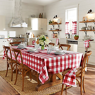 "Elrene Home Fashions Farmhouse Living Buffalo Check Tablecloth Collection, 52"" x 52"" Square, Red/White, Red/White, rollover"