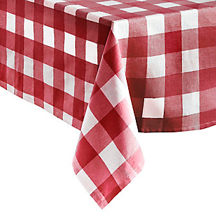 "Elrene Home Fashions Farmhouse Living Buffalo Check Tablecloth Collection, 52"" x 52"" Square, Red/White, Red/White, large"