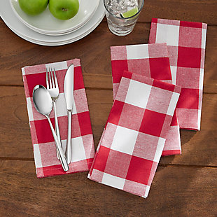"Elrene Home Fashions Farmhouse Living Buffalo Check Napkins, Set of 4, 20"" x 20"", Red/White, Red/White, rollover"