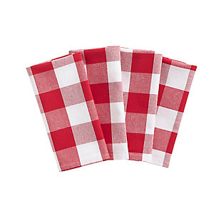 "Elrene Home Fashions Farmhouse Living Buffalo Check Napkins, Set of 4, 20"" x 20"", Red/White, Red/White, large"
