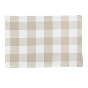 "Elrene Home Fashions Farmhouse Living Buffalo Check Placemats, Set of 4, 13"" x 19"", Tan/White, Tan/White, large"