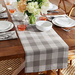 "Elrene Home Fashions Farmhouse Living Buffalo Check Table Runner, 13"" x 70"", Gray/White, Gray/White, rollover"