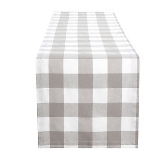 "Elrene Home Fashions Farmhouse Living Buffalo Check Table Runner, 13"" x 70"", Gray/White, Gray/White, large"