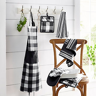 "Elrene Home Fashions Farmhouse Living Buffalo Check Pot Holder Pair, 8"" x 9"", Black/White, Black/White, rollover"