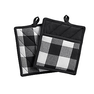 "Elrene Home Fashions Farmhouse Living Buffalo Check Pot Holder Pair, 8"" x 9"", Black/White, Black/White, large"
