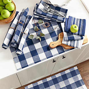 "Elrene Home Fashions Farmhouse Living Stripe and Check Kitchen Towels, Set of 3, 17"" x 28"", Blue/White, Blue/White, rollover"