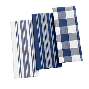 "Elrene Home Fashions Farmhouse Living Stripe and Check Kitchen Towels, Set of 3, 17"" x 28"", Blue/White, Blue/White, large"