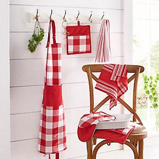 "Elrene Home Fashions Farmhouse Living Buffalo Check Kitchen Apron with Pocket, 28"" x 33"", Red/White, Red/White, rollover"