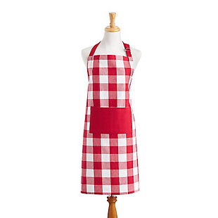 "Elrene Home Fashions Farmhouse Living Buffalo Check Kitchen Apron with Pocket, 28"" x 33"", Red/White, Red/White, large"
