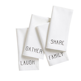 "Elrene Home Fashions Farmhouse Living Sentiments Napkins, Set of 4, 20"" x 20"", Black/White, , large"