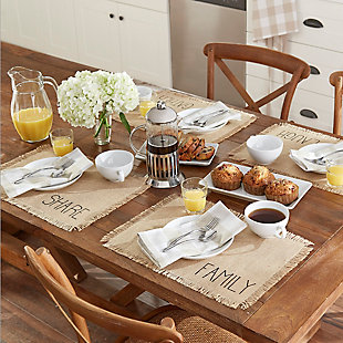 Elrene Home Fashions Farmhouse Living Sentiments Burlap Placemats - Set of 4, , rollover