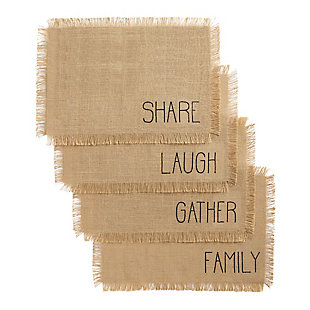 Elrene Home Fashions Farmhouse Living Sentiments Burlap Placemats - Set of 4, , large