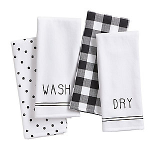 Elrene Home Fashions Farmhouse Living Sentiments Kitchen Towels - Set of 4, , large