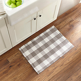 "Elrene Home Fashions Farmhouse Living Buffalo Check Woven Kitchen Mat - 20"" x 30"" - Gray/White, Gray/White, rollover"