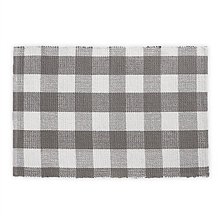 "Elrene Home Fashions Farmhouse Living Buffalo Check Woven Kitchen Mat - 20"" x 30"" - Gray/White, Gray/White, large"
