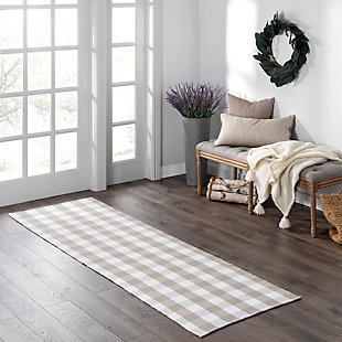 "Elrene Home Fashions Farmhouse Living Buffalo Check Woven Kitchen Runner Rug, 29"" x 96"", Tan/White, Tan/White, rollover"