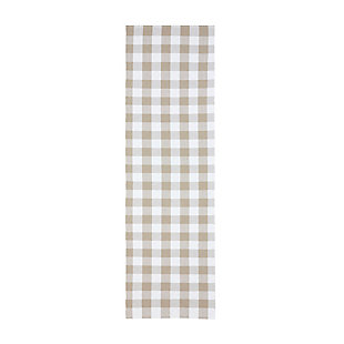 "Elrene Home Fashions Farmhouse Living Buffalo Check Woven Kitchen Runner Rug, 29"" x 96"", Tan/White, Tan/White, large"