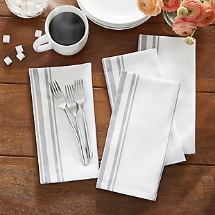 "Elrene Home Fashions Farmhouse Living Homestead Stripe Napkins, Set of 4, 20"" x 20"", Gray/White, Gray/White, rollover"