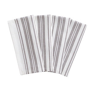 "Elrene Home Fashions Farmhouse Living Homestead Stripe Napkins, Set of 4, 20"" x 20"", Gray/White, Gray/White, large"